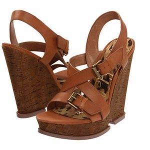 """Sam Edelman """"Josie"""" Cork Wedge Sandals, Size 6"""